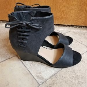 Torrid Black Lace Up Wedge Sandals Shoes 6.5W